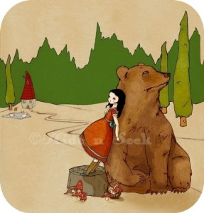 Girl and bear picture