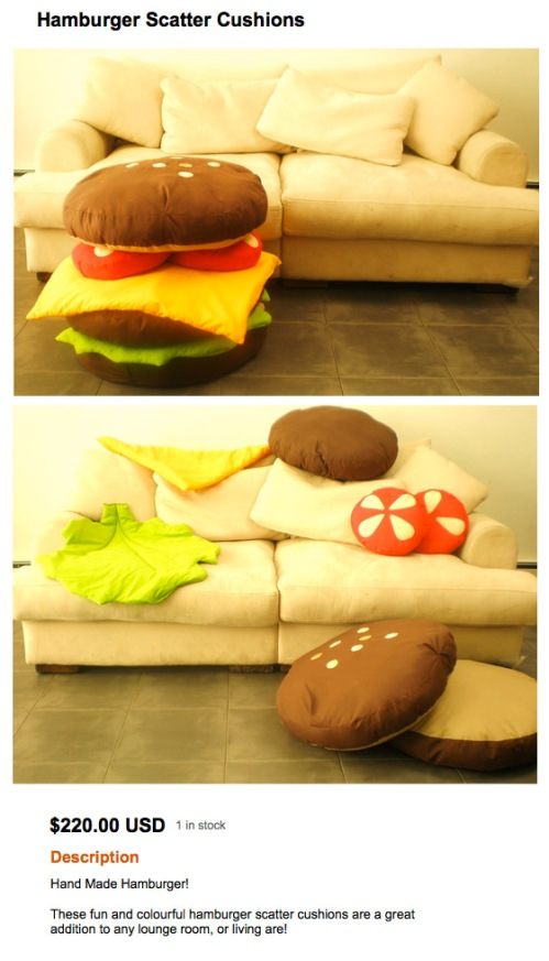 hand burger scatter pillows