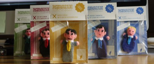 knitted finger puppet politicians