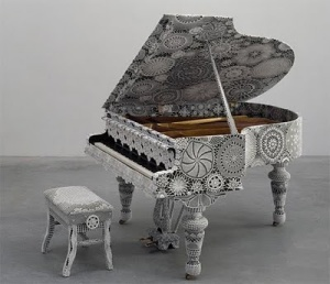 Lace covered piano