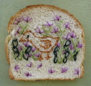 sewing on toast