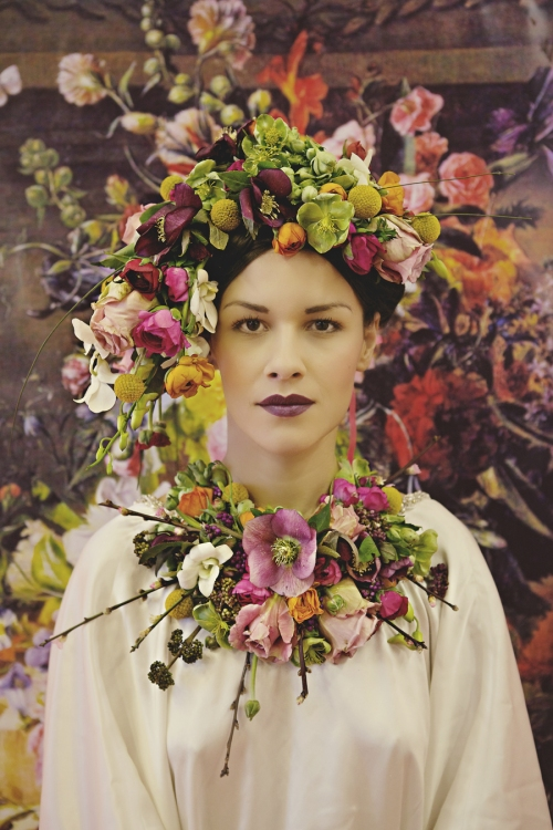 Woman with a contemporary floral headpiece